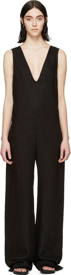 Nomia - Black Washed Linen V-Neck Jumpsuit