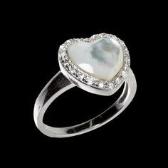 Anel de prata com ródio coração de madrepérola e zircônia