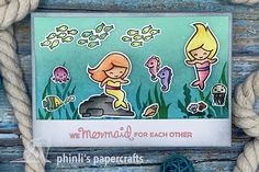 lawn fawn underwater card «mermaid for each other Lawn Fawn, Underwater, Cardmaking, Mermaid, Paper Crafts, Cards, Making Cards, Tissue Paper Crafts, Under The Water