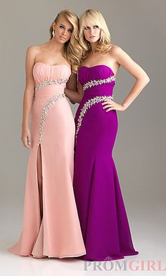 Strapless Evening Gown for Prom by Night Moves 6469 at PromGirl.com