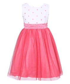 Another great find on #zulily! White & Rose Pearl Sash Overlay Dress - Toddler & Girls #zulilyfinds