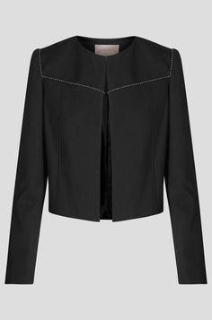 Pudełkowy żakiet ze zdobieniem - Czarny Blazer, Blouse, Long Sleeve, Sleeves, Jackets, Women, Fashion, Down Jackets, Moda