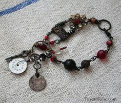 ON SALE  Steampunk Gyspy Charm bracelet by TuscanRose on Etsy, $32.00