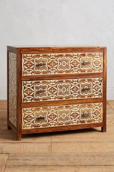 Hadia inlay three drawer dresser at Anthropologie Furniture Sale, Unique Furniture, Accent Furniture, Painted Furniture, Bedroom Furniture, Three Drawer Dresser, Dresser Drawers, Stencil Dresser, Hand Painted Dressers