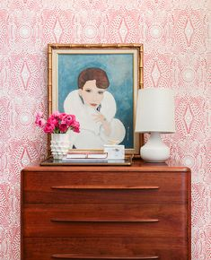 Hygge and West Diamante Red Wallpaper (Style by Emily Henderson) Red Wallpaper, Modern Wallpaper, Hygge And West, Dresser Styling, Interior Inspiration, Design Inspiration, Popular Paint Colors, Interior Paint Colors, Paint Colours