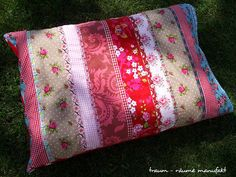 patchwork pillow with colorful ribbons | por Smila´s World