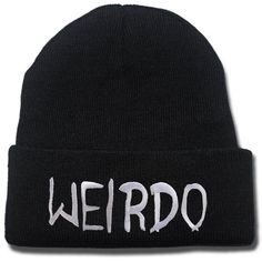 Amazon.com: JRICK Weirdo Logo Beanie Fashion Unisex Embroidery Beanies... ($8.99) ❤ liked on Polyvore featuring accessories, hats, beanies, hair, skull hat, beanie cap, skull beanie hats, beanie cap hat and skull cap beanie