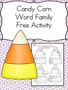 Halloween Phonics Worksheet Free Halloween Phonics Worksheet for Kindergarten or First grade. Students sound out the Short A CVC words on a candy corn! Make learning fun!