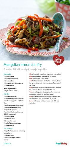 Mongolian stir-fry---with steak Low Carb Dinner Recipes, Meat Recipes, Asian Recipes, Healthy Recipes, Group Recipes, Asian Cooking, Easy Cooking, South African Recipes, Stir Fry