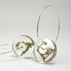 Alcee Heather, Floral Resin Earrings by sisicata on Etsy ... interesting design
