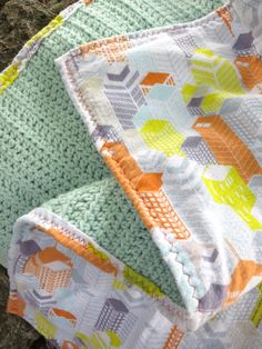 Reversible Crochet Flannel Blanket Baby Boy by j6workbox on Etsy, $48.00