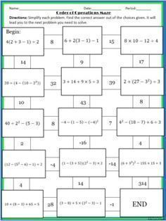 order of operations maze Math Resources, Math Activities, Math Games, Math Expressions, Sixth Grade Math, Labyrinth, The Knowing, Order Of Operations, Math School