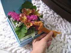 flower box gift with felt doggy