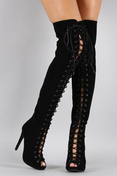 Thigh high vegan suede lace boots Thigh high vegan suede lace up peep toe stiletto boots. Thigh High Boots, High Heel Boots, Bootie Boots, Over The Knee Boot Outfit, Over The Knee Boots, Sexy Boots, Lace Up Boots, Bota Over, Stiletto Boots