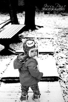 Baby's first snow. Owl hat. Perfection.