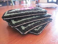 Finishing Hooked Coasters - a No Sew Method