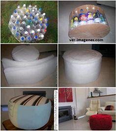 Baquito realizado con botellas de plastico