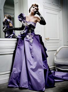 pretty-shou: somethingvain: Christian Dior Haute Couture F/W Mario Sierra This is the dress Lily Cole wore during a fashion show of Dior Dior Haute Couture, Style Couture, Couture Fashion, Beauty And Fashion, Purple Fashion, Fashion Moda, Fashion Week, Club Fashion, 1950s Fashion