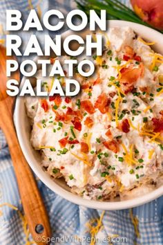 Perfect for a picnic, BBQ, or every summer party, bacon ranch potato salad is an all time favorite. Bits of bacon give it an extra salty bite, while the creamy sauce gives it an irresistible flavor! #spendwithpennies #baconranchpotatosalad #side #recipe #dressing #kraft #sourcream #delish #recipes #easy Bacon Ranch Potato Salad, Spend With Pennies, Creamy Sauce, Recipe Box, Sour Cream, Delish, Salads, Picnic, Sandwiches