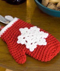 Crochet Snowflake Mitten Ornaments--free pattern