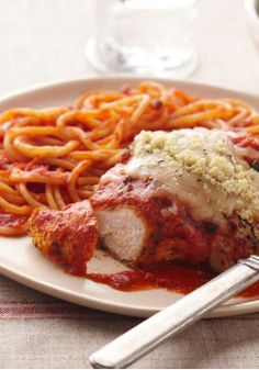 Chicken Parmesan Pasta – This Chicken Parmesan is all nestled up with its best friend: a side of pasta and red sauce.