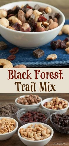 My Super Simple Black Forest Trail Mix is full of protein and nutrient rich nuts and dried fruit like cherries and hazelnuts and just a bit of dark chocolate—the perfect combination of salty and sweet!  Get the recipe on MealPlanningMagic.com