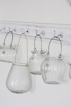 Add wire hangers to small vases