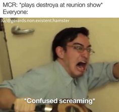 When someone asks how the Heat Metal spell works *Confused screaming* - - iFunny :) Emo Band Memes, Mcr Memes, Music Memes, Emo Bands, Music Bands, Funny Memes, Jokes, Emo Meme, Funniest Memes