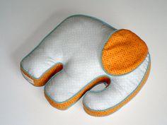 Elephant Pillow Light Blue Grey Orange. $57.00, via Etsy.