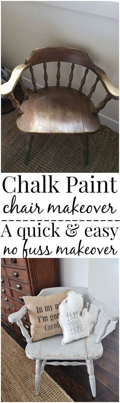 Before and After Chalk Paint Chair Makeover by DIY Ready at http://diyready.com/16-more-diy-chalk-paint-furniture-ideas/