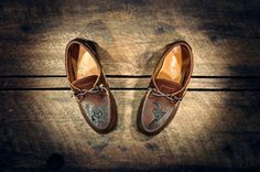 """Custom Handcrafted Oiled Dark Tan Leather """"Westsiders"""" Boat Shoes - Hand Etched Guns n' Roses - MADE TO ORDER"""