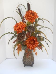 Fall Silk Flower Fl Arrangement Handmade
