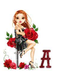 Alfabeto de Dolls sentada con rosas.
