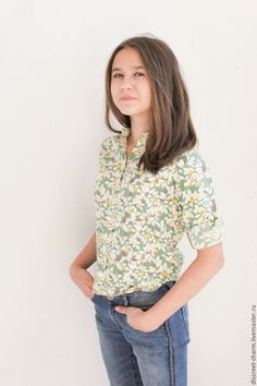 Cotton shirt for girl / Одежда для девочек, ручной работы. Заказать Детская рубашка с воротником-стойкой, зелёно-молочная. Скромное обаяние (Александра). Ярмарка Мастеров.