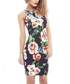 Look what I found on #zulily! Black & Rust Rose String-Back Bodycon Dress by AX Paris #zulilyfinds