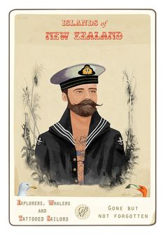 """ Sailor "" … Artist: Marika Jones, New Zealand Great Life, Vintage Ephemera, Ocean Waves, New Zealand, Paper Art, Fine Art Prints, My Arts, Sailors, History"