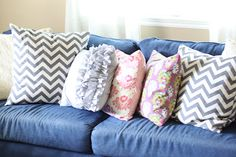 Fun denim sofa with pretty pillows.  ... do it yourself divas.blogspot.com
