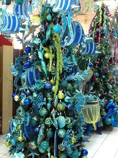 ...We've used these two colors in various shades in two of our trees trees: one with an Under the Sea theme..