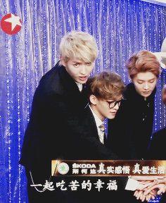 "Jongdae you troll, hitting Kris in the face. LOL it looks like Kris is saying ""FUCK"" as he turned."