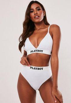Playboy x Missguided White Playboy Taped Triangle Bra. Order today & shop it like it's hot at Missguided. Sexy Lingerie, Sexy Bra, Women Lingerie, Lingerie Outfits, Sexy Bikini, Bikini Girls, Thong Bikini, Playboy, Slogan T Shirt Dress