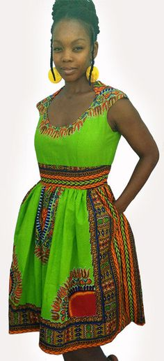 Lime Green Rising Star Capped Sleeve Dashiki Dress