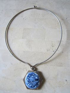 Ebba Jensen Necklace  Blue & White Stone by JewelsOfHighElegance, $30.00