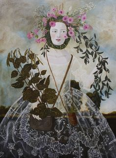 ⊰ Posing with Posies ⊱  paintings of women and flowers - Plant Collector. By Anne Siems, 2013.