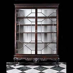 Showcase cabinet with ball-and-claw feet and glass doors with mullions Antique Furniture For Sale, Victorian Furniture, Kitchen Armoire, Antique Chairs, Decorative Items, Bookcase, Carving, Showcase Cabinet, Antiques