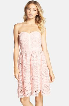 $106 at Nordstrom: it's priced just over 100 bucks, but I think you can see why I made an exception for this one. #prettyinpink (Adelyn Rae Embroidered Lace Fit & Flare Dress)