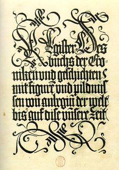 early fraktur script and chisel-edge pen flourishes.