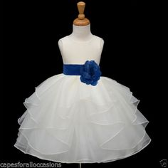 NEW-IVORY-ORGANZA-BRIDESMAID-PAGEANT-WEDDING-FLOWER-GIRL-DRESS-SM-MED-2-4-6-8-10