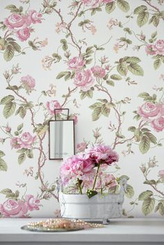 """FRENCH ROSES from the collection """"A Vintage book"""". www.scandinvianwallpaper.com"""