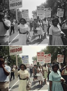 LOVE this photo of the March on Washington! I feel like I'm there. 1963. #history #colorizedhistory http://www.npr.org/blogs/pictureshow/2013/08/28/216151120/colorizing-the-march-on-washington
