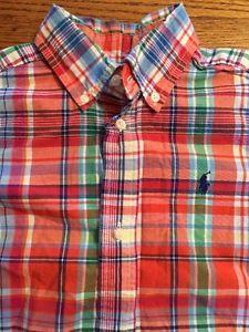 Ralph Lauren Polo Toddler Boys Size 3T Multi Plaid Madras Button Front Shirt | eBay